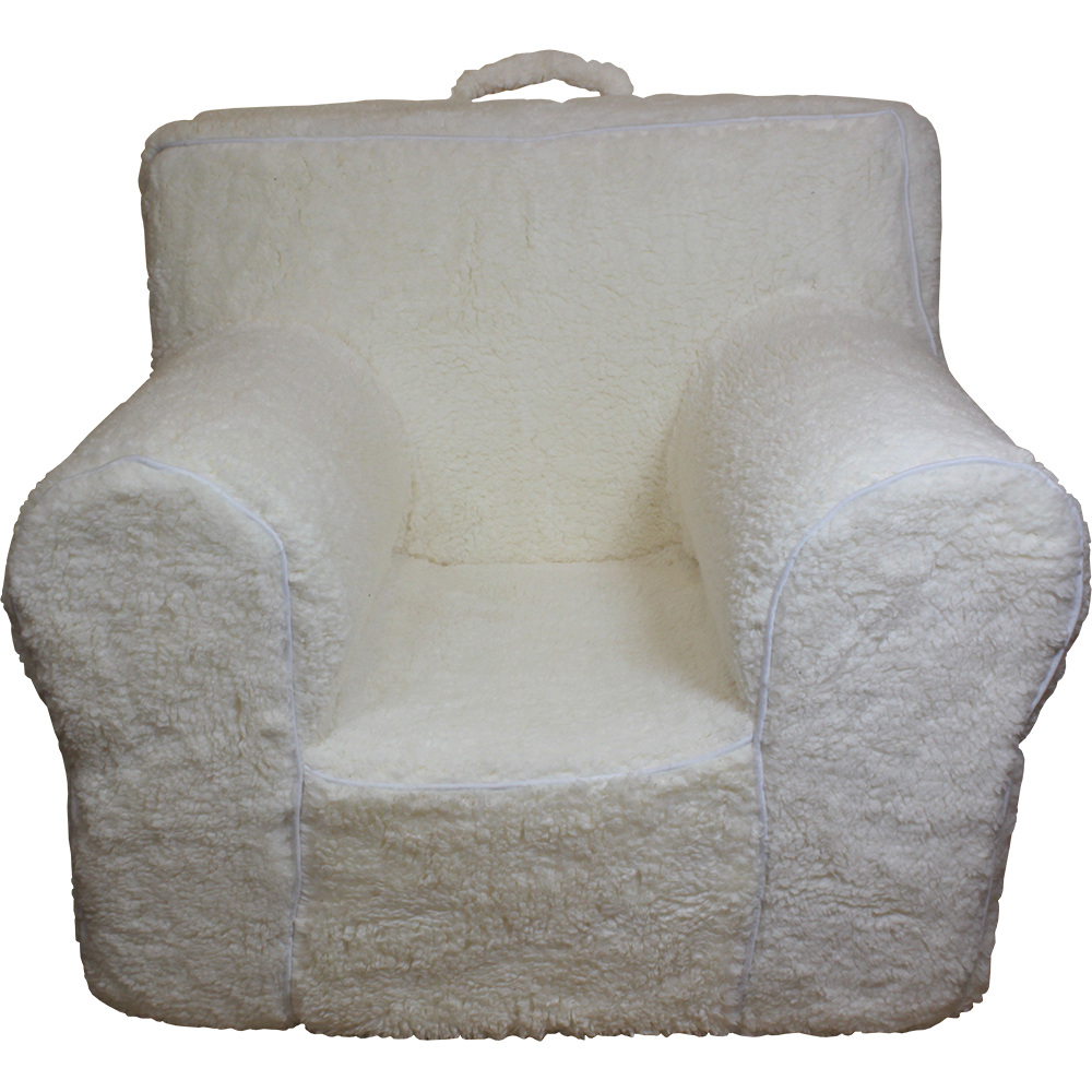 cream sherpa cover for pottery barn kids anywhere chair oversize embroidered. Black Bedroom Furniture Sets. Home Design Ideas