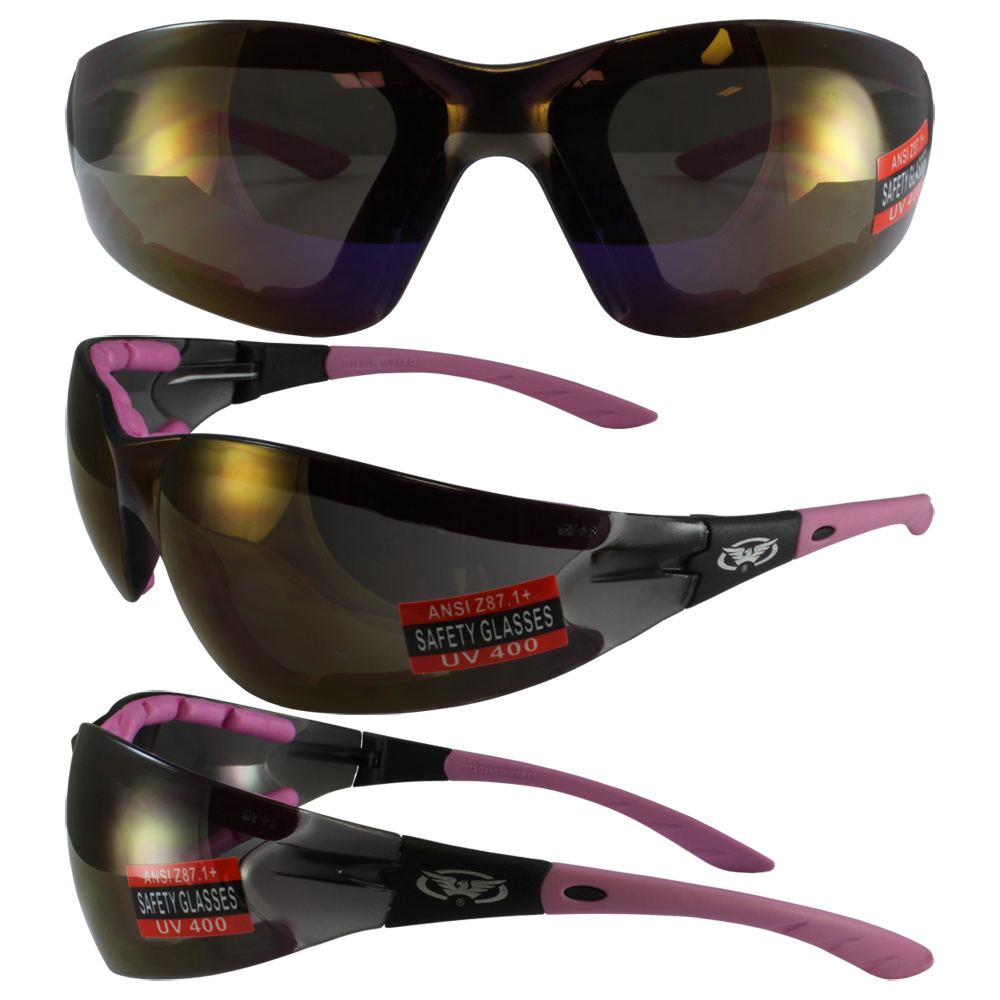 7303bda2ad9 Global Vision Ruthless Padded Motorycycle Safety Glasses Purple Mirror Lens