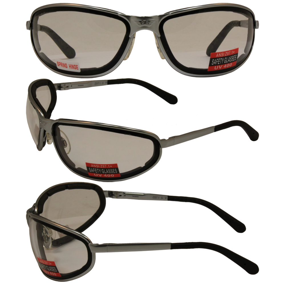 Glasses Frames With Removable Arms : STURGIS 2 SILVER FRAME MOTORCYCLE GLASSES PADDED CLEAR ...