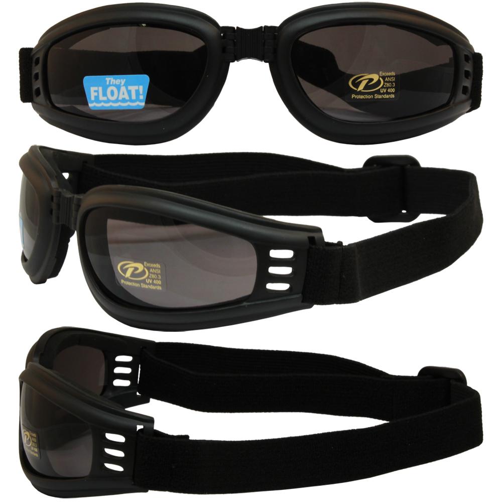 Pacific Coast Nomad Folding ATV Motorcycle Goggles Black Smoke Lens 4520