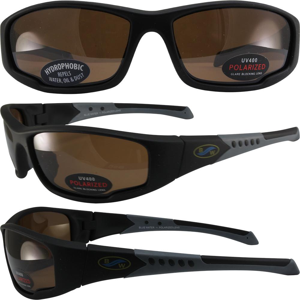 Global Vision Daytona 3 Polarized Sunglasses Glasses Black frames Brown Lens