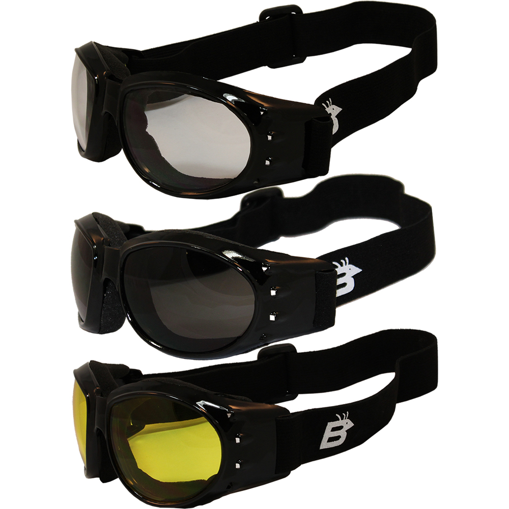 Men PADDED MOTORCYCLE RIDING GOGGLES With Strap Black Frame Yellow Anti Fog Lens