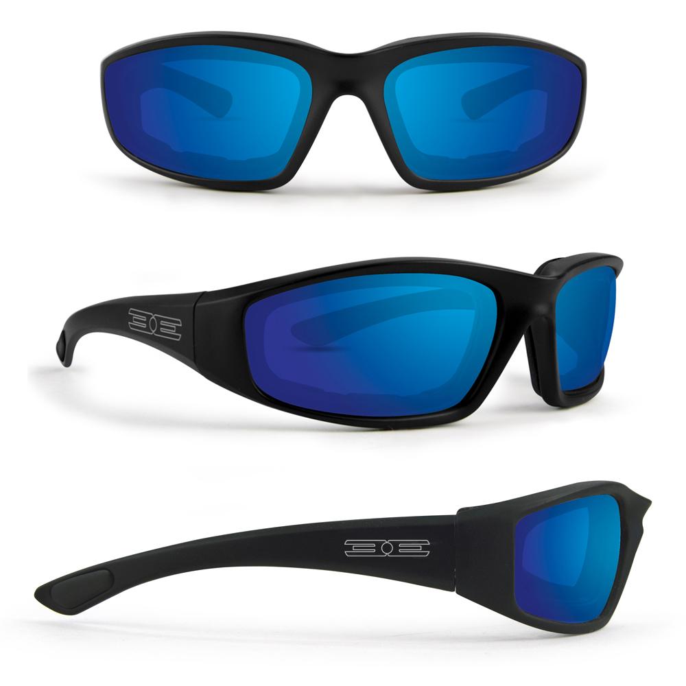 Case Motorcycle Biker Sunglasses Padded Cushion Wraparound Polycarbonate Shatterproof UV400 Silver Mirror Lens