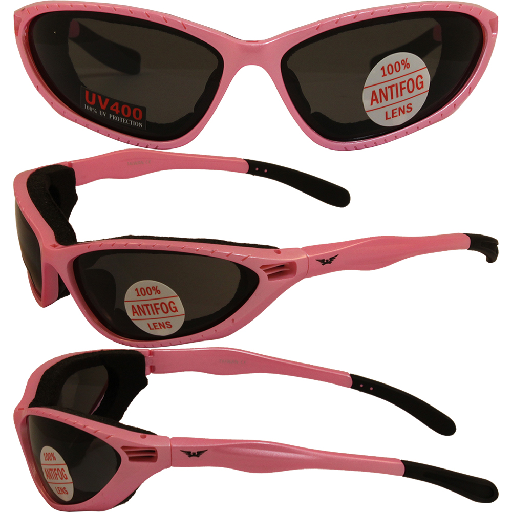 Womens Ladies Foam Padded Motorcycle Riding Pink Glasses Sunglasses U2 MED PINK